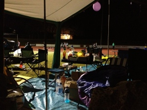 Looking out from our tent site